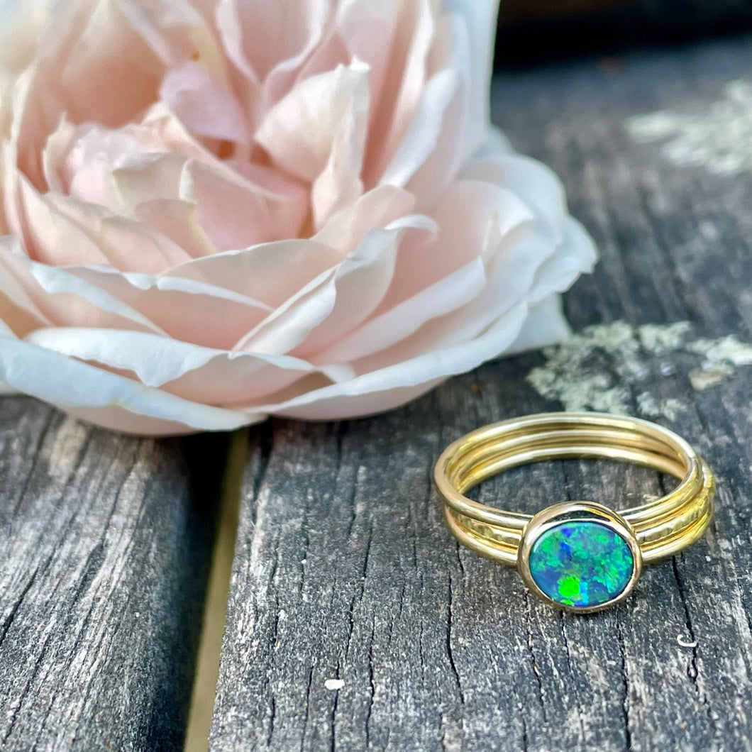 18ct Gold & Lightning Ridge Black Opal Unity Ring, Rowena Watson Designs