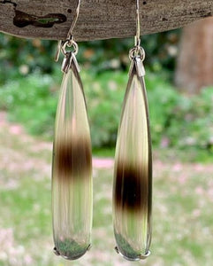 Unique Artist Cut Smokey Quartz Drop Earrings, Rowena Watson Designs