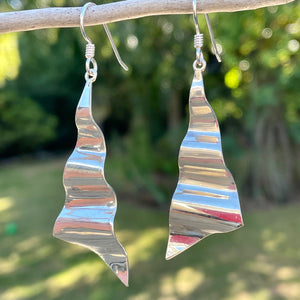 Large Corrugated Sterling Silver Earrings