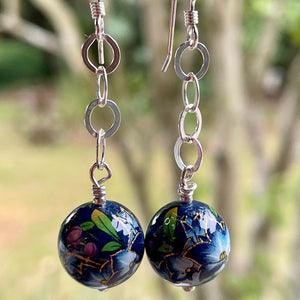 Dark Blue Japanese Decal Bead Earrings. Rowena Watson Designs