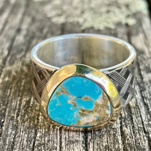Nevada Turquoise in 9ct Gold and Sterling Silver Woven Band Ring, Rowena Watson Designs