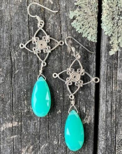Chrysoprase Faceted Drop Earrings, Rowena Watson Designs
