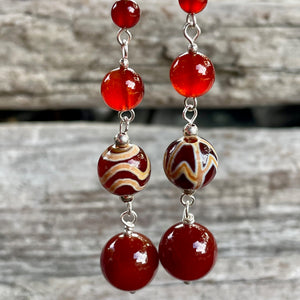 Carnelian and Etched Agate Earrings, Rowena Watson Designs