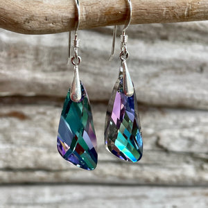 Swarovski Asymmetrical Earrings, Pale Purple