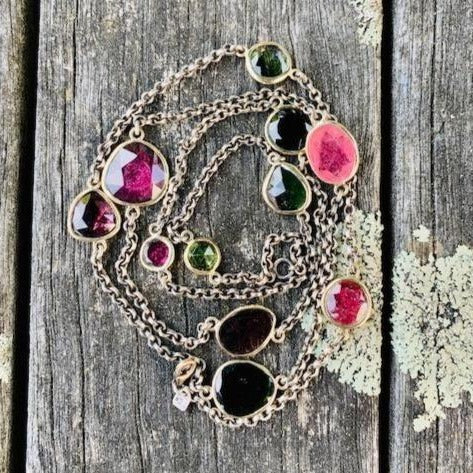 Tourmaline Necklace with Sterling Silver and 9ct Gold, Rowena Watson Designs
