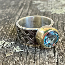Blue Topaz and Sterling Woven Band Ring, Rowena Watson Designs