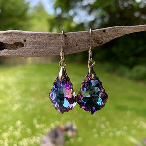 Baroque Swarovski Drop Earrings, Pale Purple