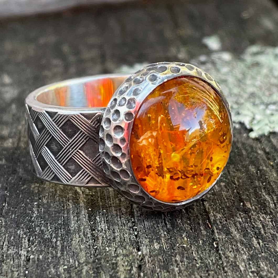 Baltic Amber and Sterling Silver Tata Ring, Rowena Watson Designs