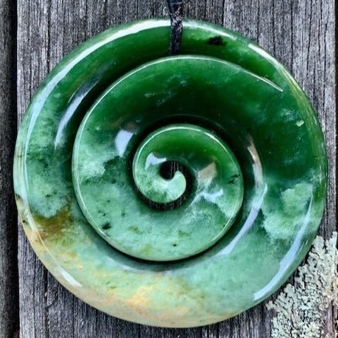 Stunning Large Marsden Flower Koru, New Zealand Greenstone