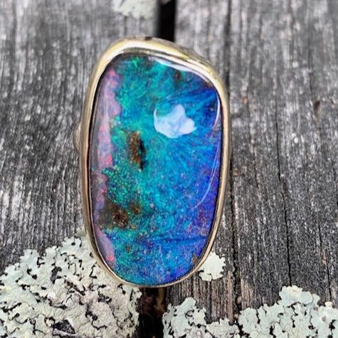 Australian Opal and 9ct Yellow Gold Ring, Rowena Watson Designs