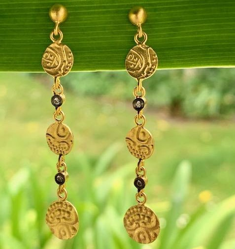 24ct Gold Earrings with Diamonds and Silver, Kurtulan