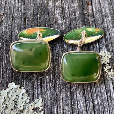 Sterling Silver and Pounamu Cufflinks, New Zealand Greenstone