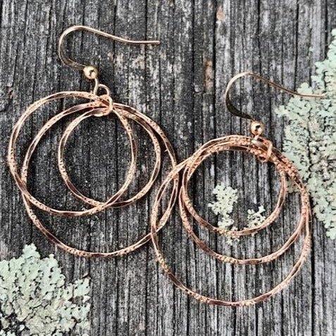 Rose Gold Fill Triple Hoop Earrings