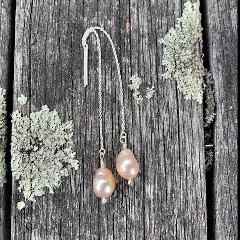 Natural Pink Freshwater Pearls on Sterling Thread Earrings, Rowena Watson Designs