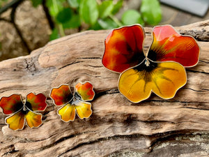 Vintage David Andersen Enamel Pansy Stud Earrings
