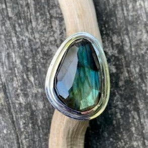 Asymmetrical Rose Cut Labradorite Ring, Rowena Watson Designs
