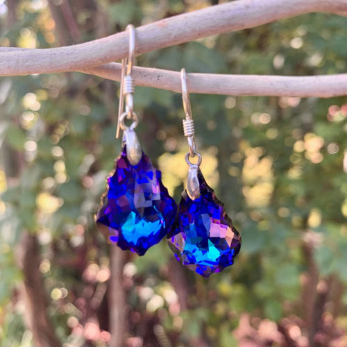 Baroque Swarovski Drop Earrings, Dark Purple