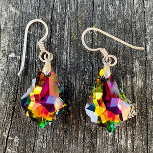 Baroque Swarovski Drop Earrings, Rainbow