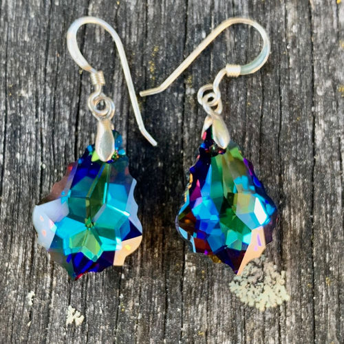 Baroque Swarovski Drop Earrings, Dark Colours