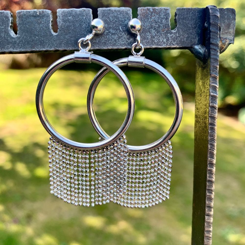 Sterling Silver Hoop and Tassel Earrings, Italian