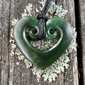 Double Koru Heart, New Zealand Greenstone
