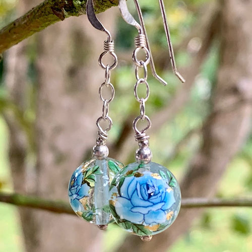 Clear and Blue Japanese Tensha Bead Earrings