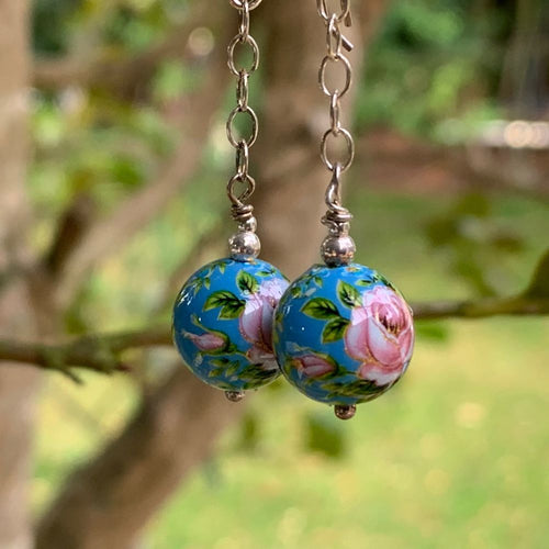Blue and Pink Japanese Decal Bead Earrings, Rowena Watson Designs