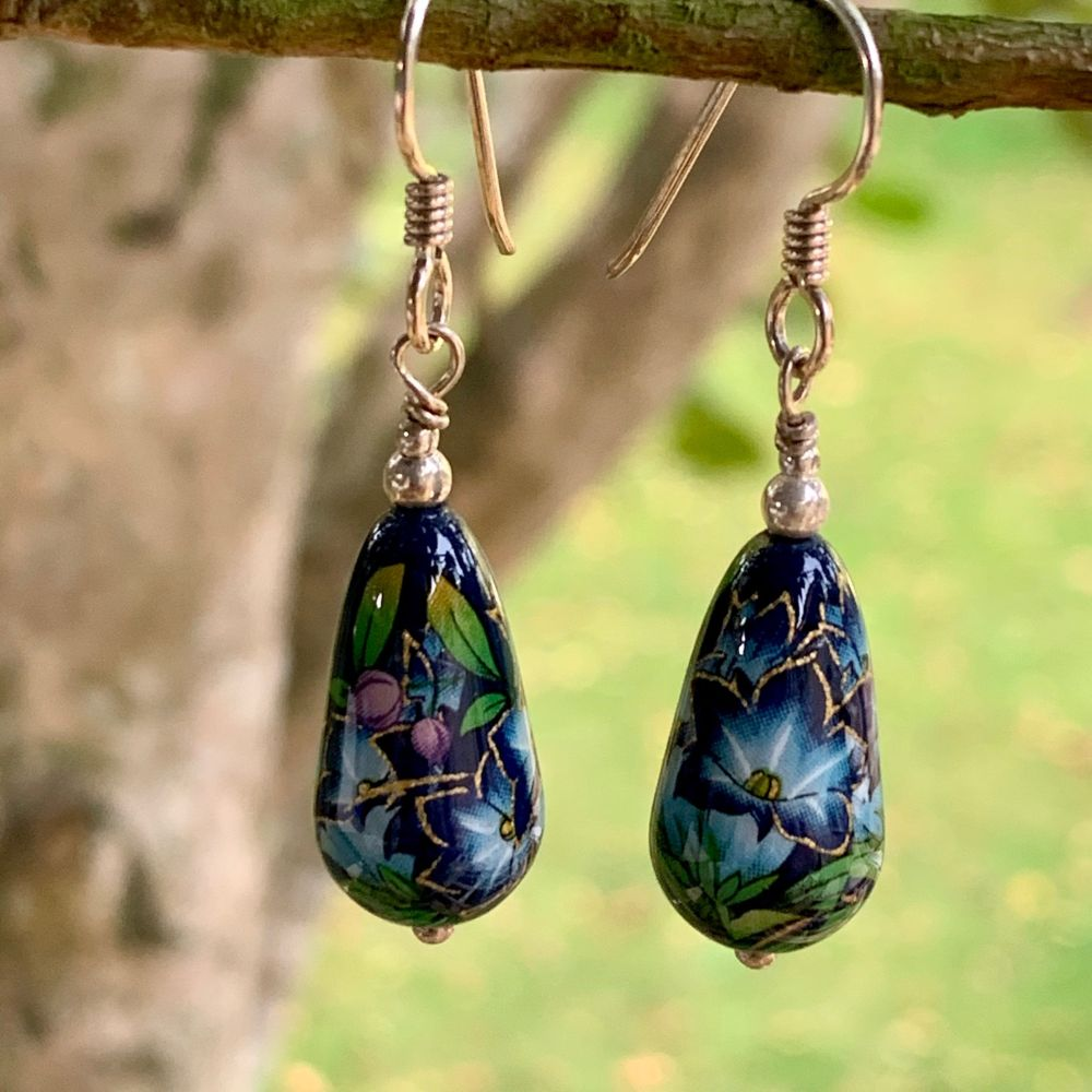 Dark Blue Japanese Tensha Bead Earrings