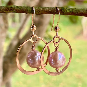 Natural Pink Fresh Water Pearls in Hoop Earrings, Rowena Watson Designs