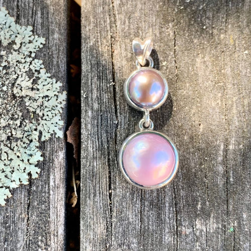 Natural Pink Fresh Water and Mabe Pearl Pendant, Rowena Watson Designs
