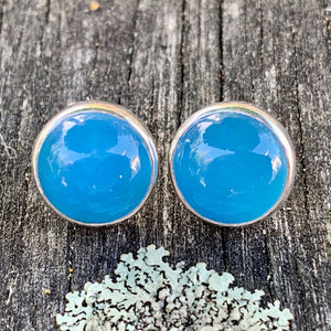 Large Blue Agate Stud Earrings, Rowena Watson Designs
