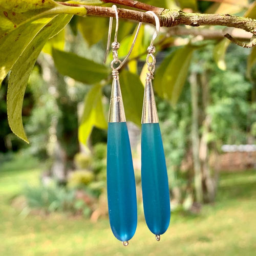 Turquoise Sea Glass Drop Earrings, Rowena Watson Designs