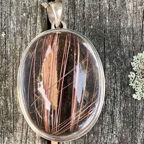 Large Copper Rutilated Quartz Pendant, Rowena Watson Designs