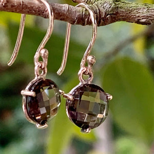 Rose Cut Smokey Quartz and 9ct Gold Earrings, Rowena Watson Designs