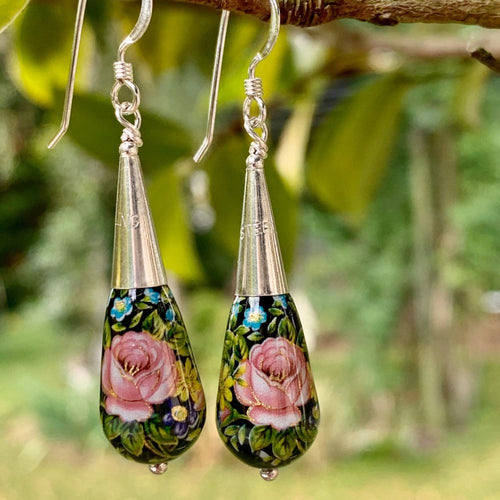 Black and Pink Japanese Tensha Bead Drop Earrings
