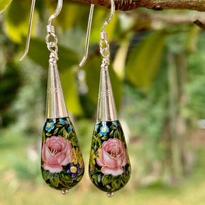 Black and Pink Japanese Decal Bead Drop Earrings, Rowena Watson Designs