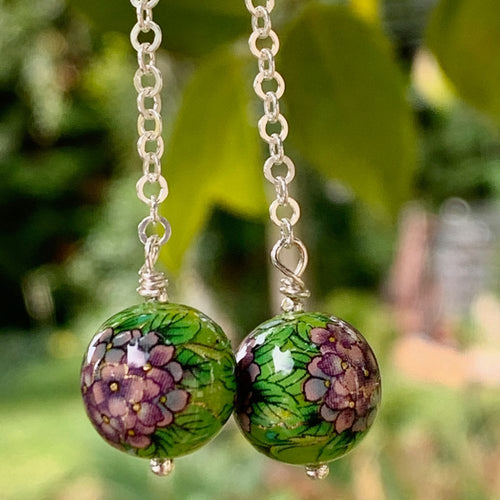 Pink and Green Japanese Decal Bead Earrings, Rowena Watson Designs