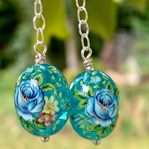 Blue Oval Japanese Decal Bead Earrings, Rowena Watson Designs