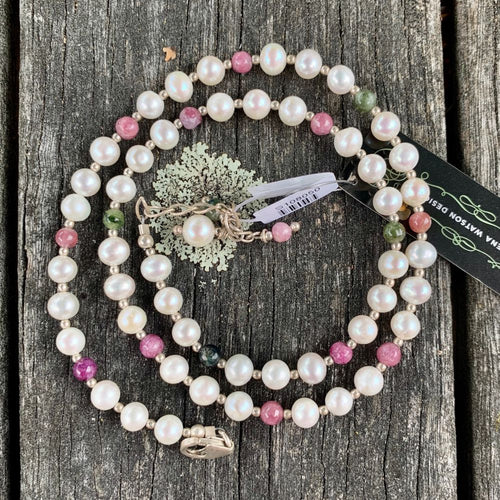 Tourmaline and Fresh Water Pearl Necklace, Rowena Watson Designs