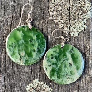 Large Round Marsden Flower Earrings, New Zealand Greenstone