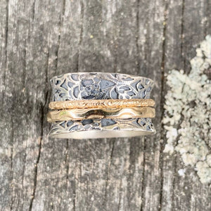 Ornate Sterling Silver and Gold Fill Spinner Ring