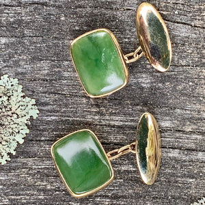 14ct Gold and Pounamu Cufflinks, New Zealand Greenstone