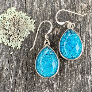 Vintage Czech Foil Glass Earrings, Blue, Rowena Watson Designs