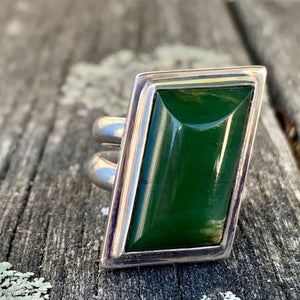 Asymmetrical New Zealand Greenstone Ring, Rowena Watson Designs