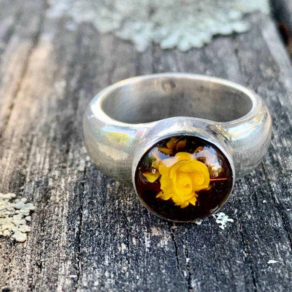Carved Baltic Amber Ring, Rowena Watson Designs