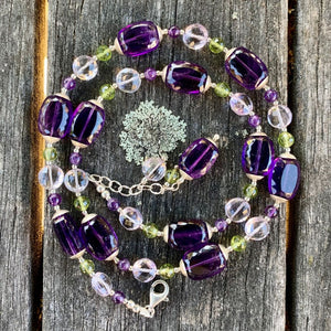 Peridot & Amethyst Suffragette Necklace, Rowena Watson Designs