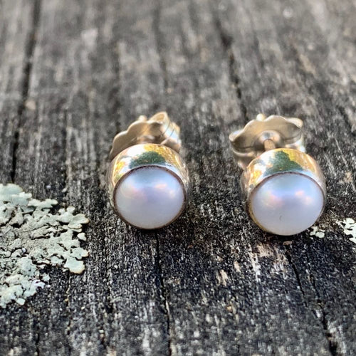 White Fresh Water Pearl Studs, Rowena Watson Designs