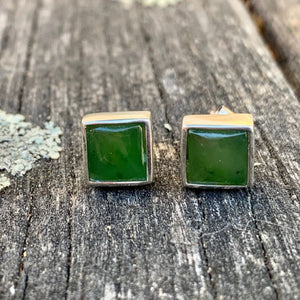 Large Square Stud Earrings, New Zealand Greenstone