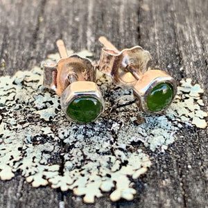 Hexagonal Stud Earrings, New Zealand Greenstone