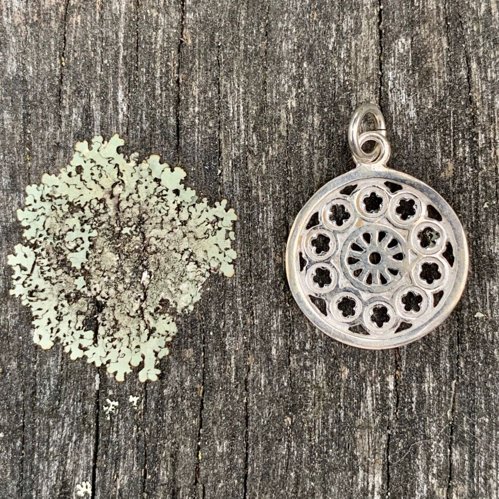 Small Rose Window Pendant, Sterling Silver, Rowena Watson Designs